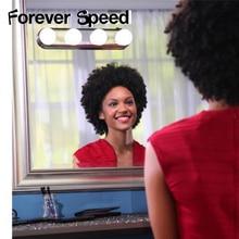 Светодиодный подсветка косметического зеркала макияж свет супер яркий 4 светодиодный лампы Портативный на батарейках макияж зеркало тщеславие Светодиодный лампочки комплект