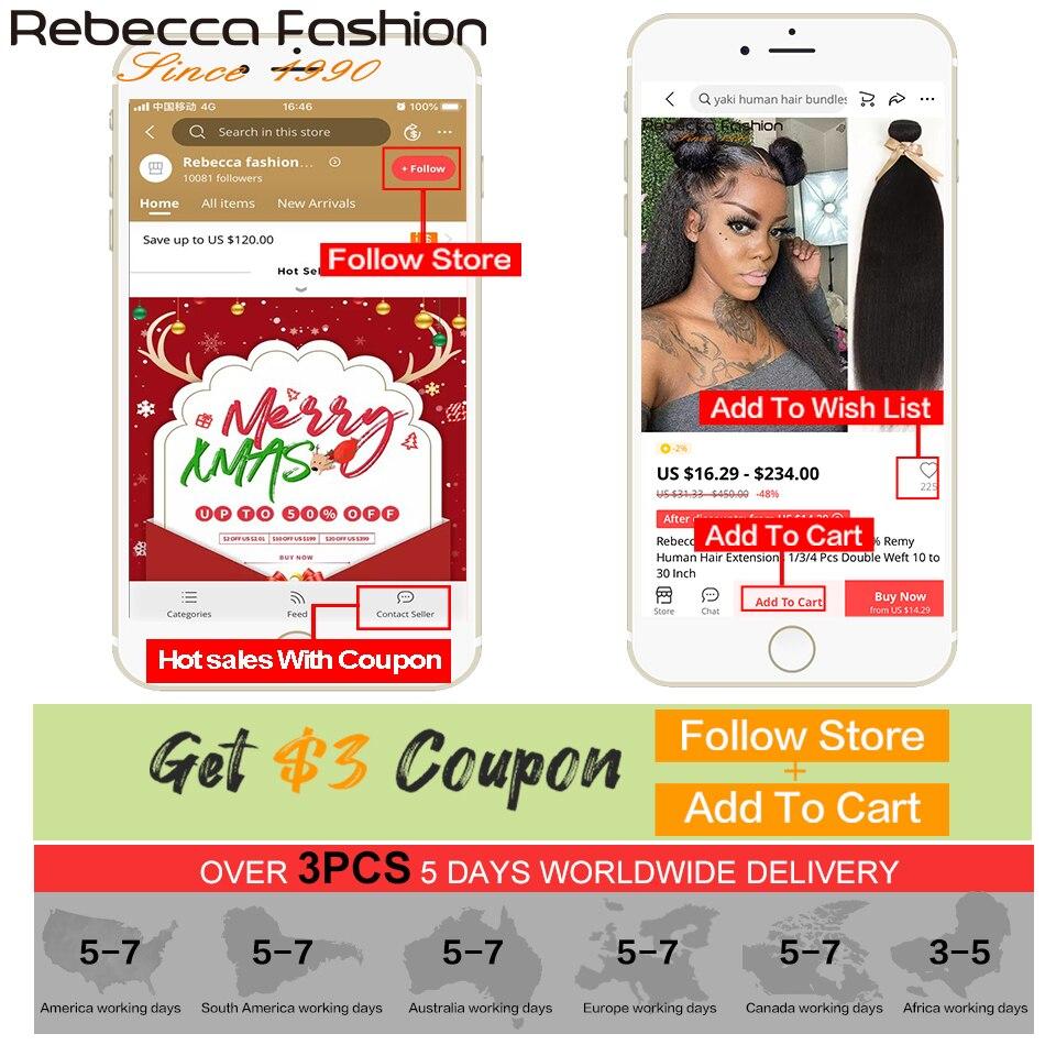 Rebecca  Yaki Straight Hair 100%  s 1/3/4 Pcs Double Weft 10 to 30 Inch 6
