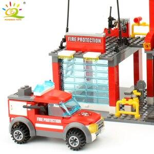Image 5 - HUIQIBAO 300 sztuk miasto straż pożarna klocki strażak człowiek figurki ciężarówka budowa samochodu cegły zabawki dla dzieci prezent