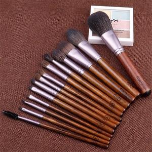 Image 2 - 14Pcs Make up Brush Set Natural Goat Hair Wood Powder Blending Blush Eyeshadow Complete Cosmetic Brush Kit