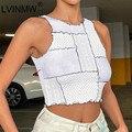 LVINMW O Hals Ärmel Hit Farbe Essbaren Drei Pilz Tank Tops Frauen Patchwork Beiläufige Dünne Remake Y2K Crop Top Streetwear