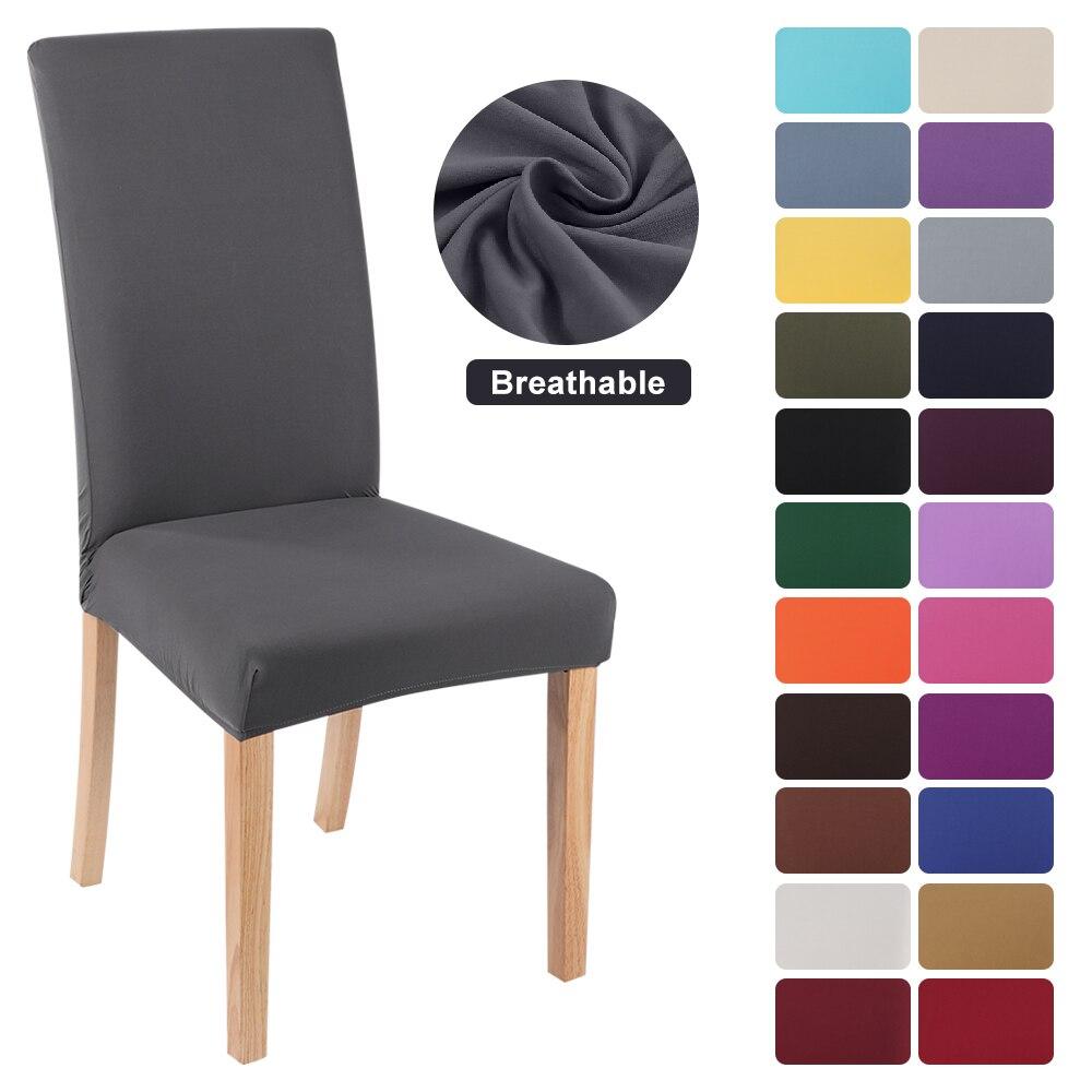 Slipcovers de cor sólida do elastano para a sala de jantar universal removível cadeira proteção cobre banquete casamento hotel 1/2/4/6 pces