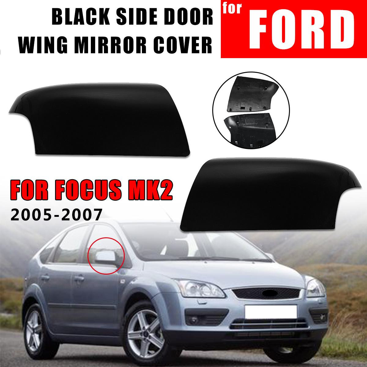 1Pair Left Right <font><b>Side</b></font> Car Rear View <font><b>Mirror</b></font> Wing Cover Case Trim Glossy Black For <font><b>FORD</b></font> For <font><b>FOCUS</b></font> MK2 2005 2006 2007 Styling image