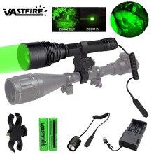 T6 10000 lumens verde lanterna led destacável recarregável tocha comprimento ajustável tactial lanterna para caça