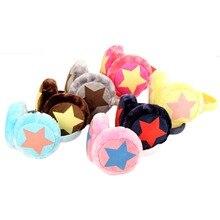 Модные новые зимние милые Мультяшные плюшевые наушники для мальчиков и девочек, детские теплые наушники в форме звезды, 6 цветов