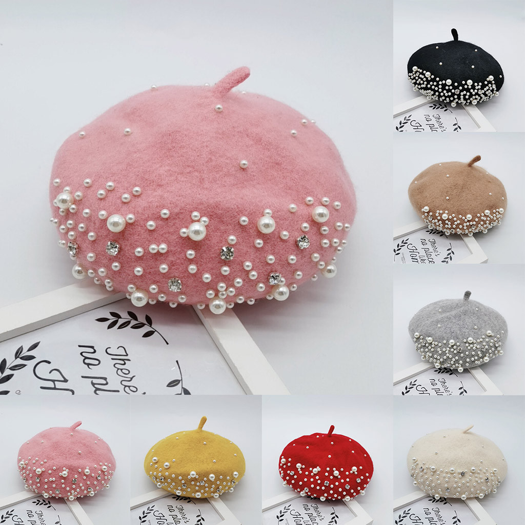 Bonnet Beret Cap Baby Pearl-Bead Toddler Baby-Girls Winter Princess Kids Hat Enfant Autumn