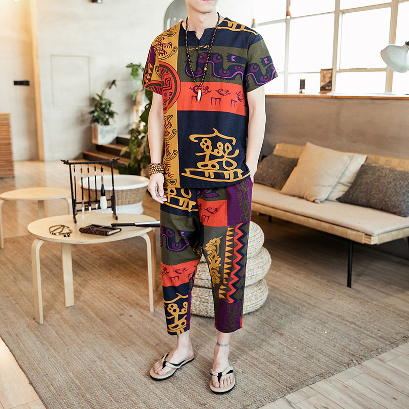 Summer Chinese-style Men'S Wear Chinese Costume Flax Short Sleeve Coat Chinese Style MEN'S Suit Youth Retro Chinese Clothing Two