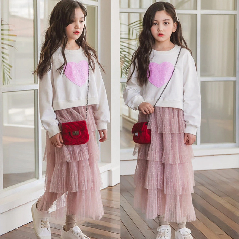 Girls Skirt Set Fashion Spring Kids Two Piece Clothes Sets White  Sweatshirts + Tutu Skirts Autumn Outfits for Teenage 6 8 12 14Y|Clothing  Sets| - AliExpress