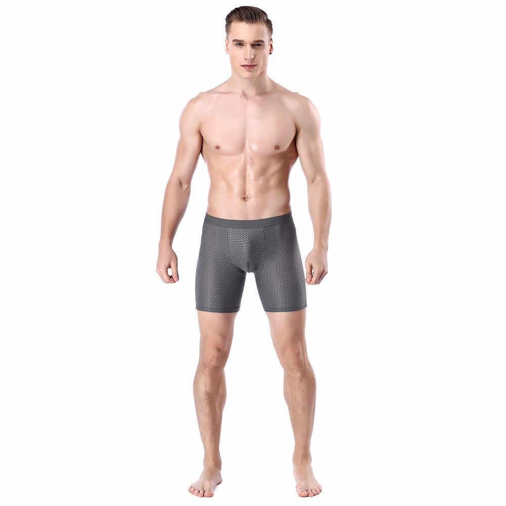 Нижнее белье Длинные боксеры для мужчин трусы сексуальное нижнее белье мужские боксеры шорты Выпуклое мешочек специальные трусы нижнее белье мужские сетчатые