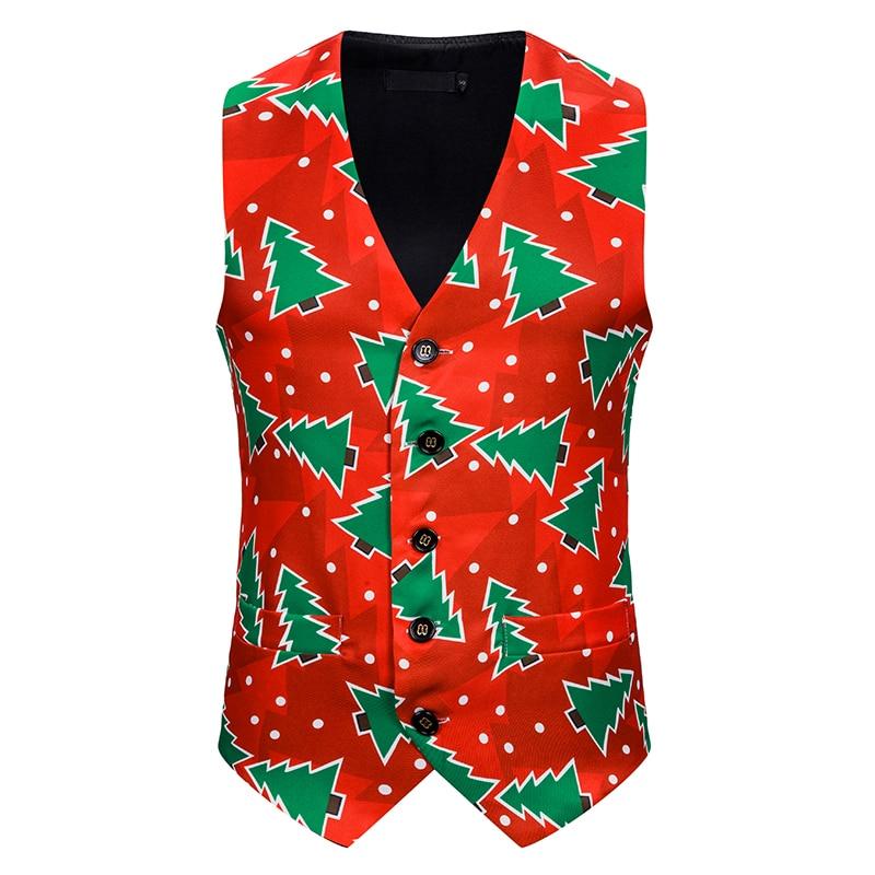 Christmas Men Suit Vest Costume Waistcoat Top Chalecos Para Hombre Gilet Print Sleeveless Tank Tops Party Evening Men's Clothes