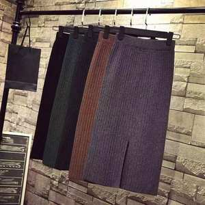 Skirt Black Elastic-Band Mid-Long Knitted Autumn Winter High-Quality Ribbed Warm Hot