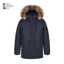 Winter Coat Parkas Men's Jacket Real-Fur Padded Blackleopardwolf Casual New Thick Medium-Long