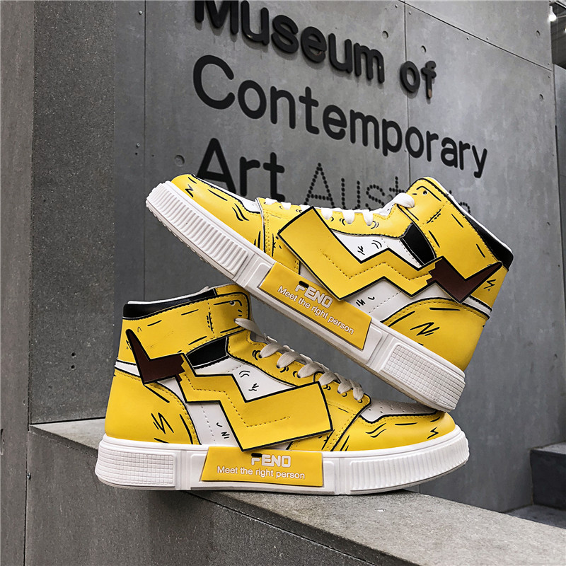 COOLVFATBO Men's Pikachu Shoes Sneakers Autumn Winter PU Leather Classic High Top Men Vulcanized Shoes Casual Men's Boots Male