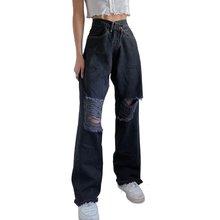 Noir Déchiré Jeans Femmes Mode Taille Haute Évider En Détresse Baggy Jeans Femme Décontracté Gland Pantalon Droit Pantalon Droit