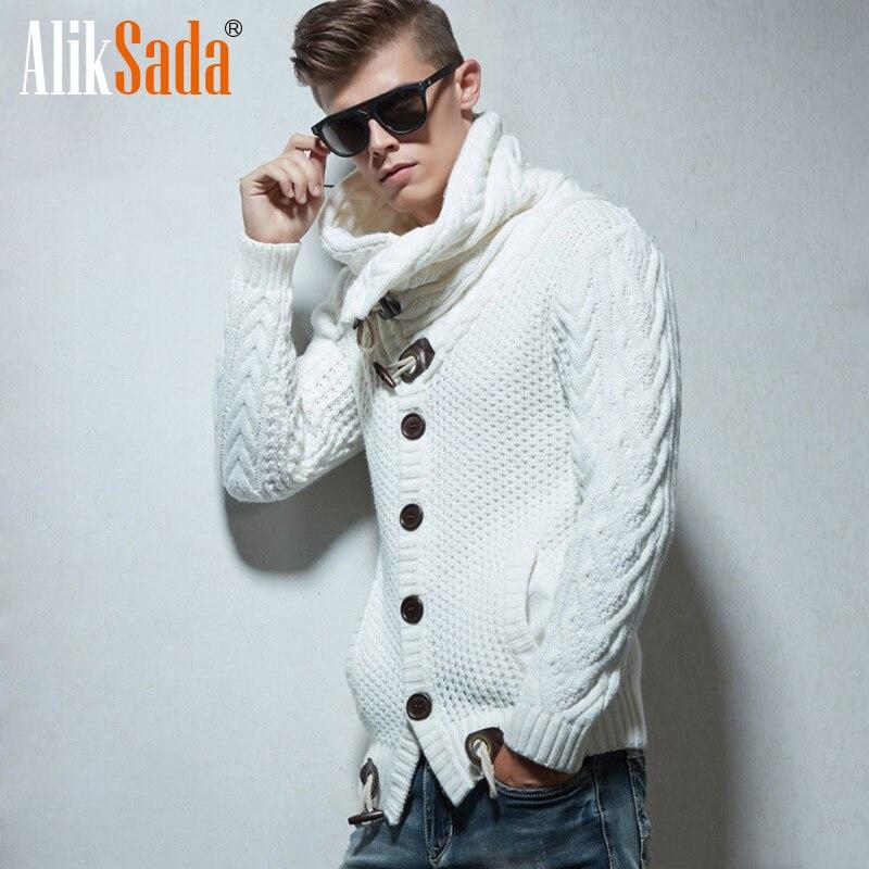 Men Autumn Winter New Fashion Vintage Fleece Cardigan Sweater Men Loose Fit Acrylic Warm Button Sweater Coats Knit Clothes Men