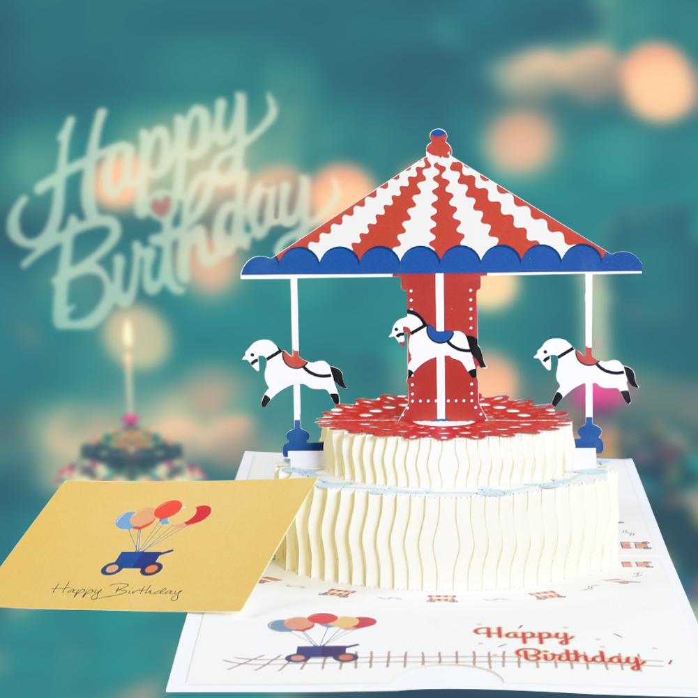 3D Pop-Up Cards Birthday Card Unicorn Card For Girl Kids Birthday Cake Greeting Cards Postcards Gifts Card With Envelope