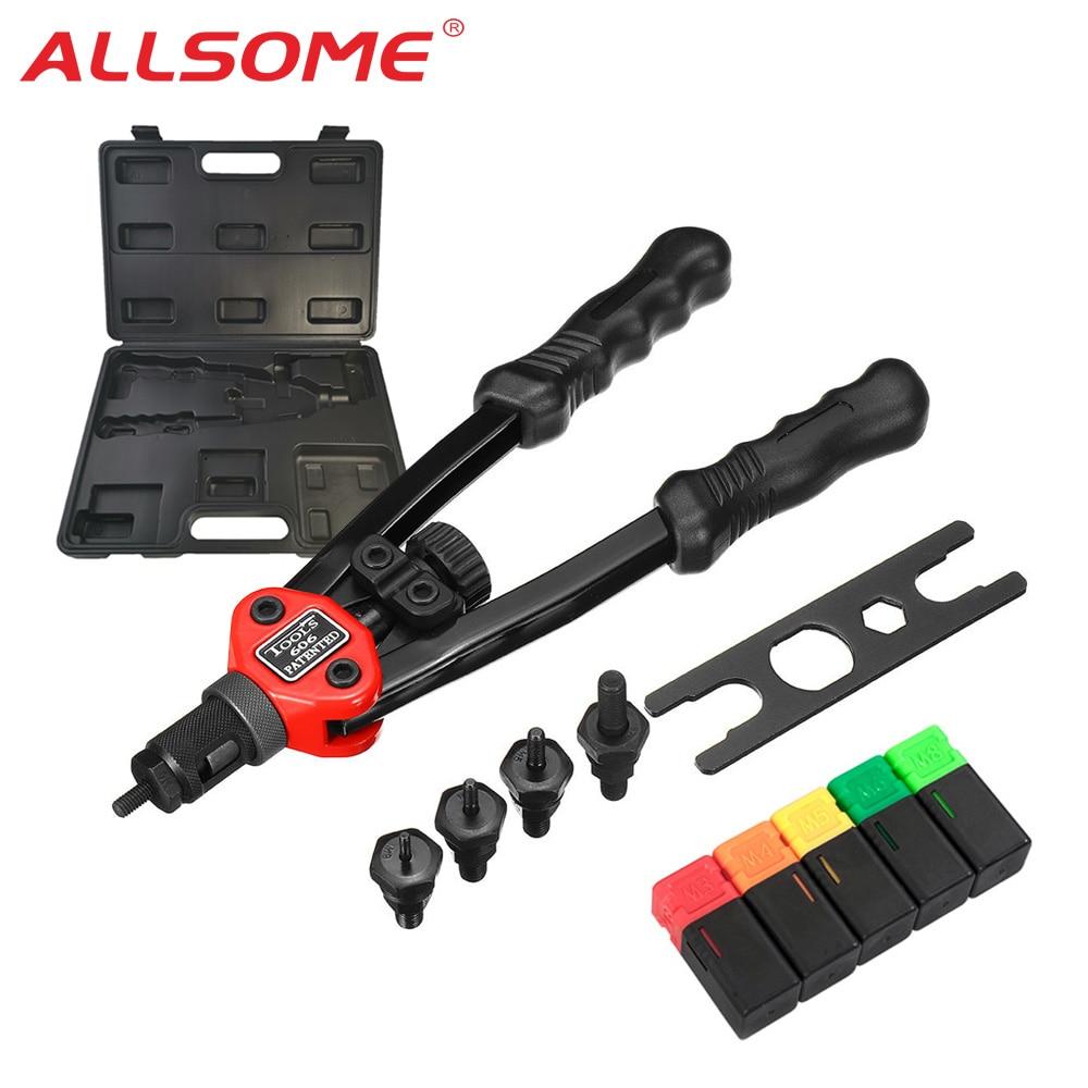 ALLSOME BT-606 Riveter Gun Tool Hand Insert Rivet Nut Tool Manual Mandrels 6-32 8-32 10-24 1/4-20 HT2596