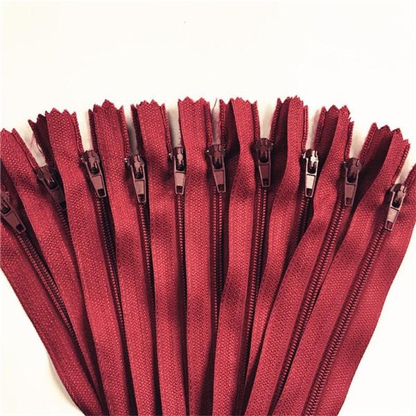 10 шт. 3 дюйма-24 дюйма(7,5 см-60 см) нейлоновые застежки-молнии для шитья на заказ нейлоновые молнии оптом 20 цветов - Цвет: wine red