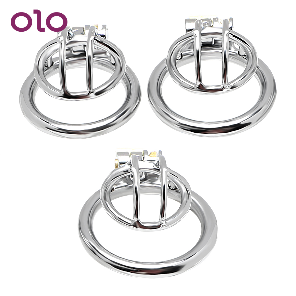 OLO Penis Rings Sex Toys For Man Anti-masturbation Penis Lock Stainless Steel Male Chastity Device Small Cock Cage