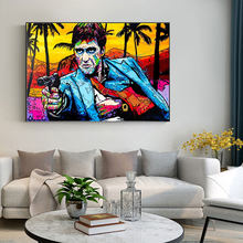 Graffiti Portrait Tony Montana Street Art Canvas Print Painting Abstract Figure Living Room Wall Picture Home Decoration Poster