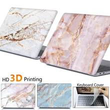 Marmer Laptop Case untuk MacBook Touch ID Air 13 A1932 Pro Retina 12 13 15 A2159 Baru TOUCH BAR UNTUK MACBOOK AIR 13 + Keyboard Cover(China)