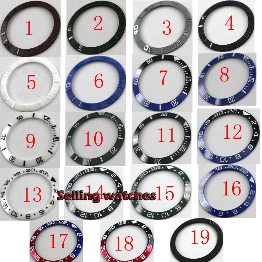 Anel de Cerâmica Moldura de Alumínio Inserção Case Men Mecânica Relógios 19 Tipos 40mm Fit 43mm