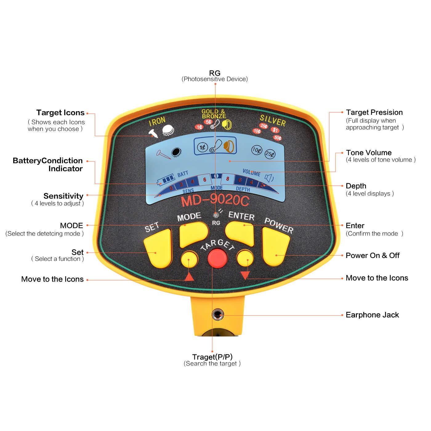 Fauge Esposizione LCD di alta sensibilita Metal detector MD9020C ad alta sensibilita Display LCD Treasure Gold Hunter Finder