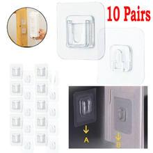 10 pares de ganchos de parede adesivos de dupla face transparente ventosa otário gancho à prova dreágua reutilizável casa porta ganchos de suspensão