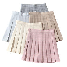 Женская розовая клетчатая юбка в стиле Харадзюку школьные юбки