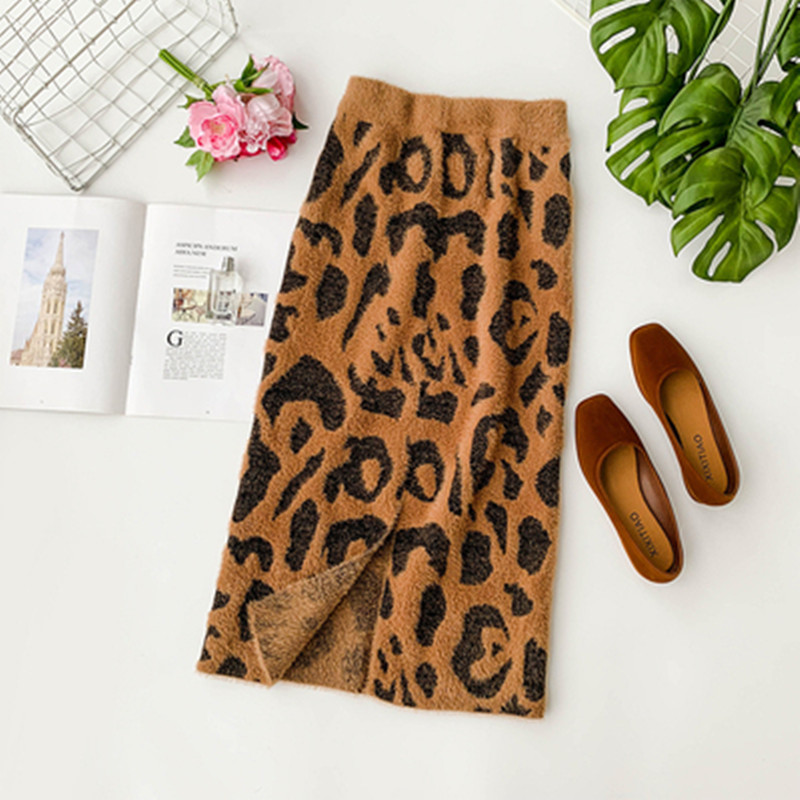 Autumn Winter Women Leoaprd Skirt Elastic High Waist Knitting Femme Jupe Kawaii Skirt Sexy Pencil Jupe Bottom Knitted Sweater