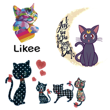 cute cat patch applique iron on transfers for clothes t shirt stickers Iron transfer vinyl clothing Hoodie badge