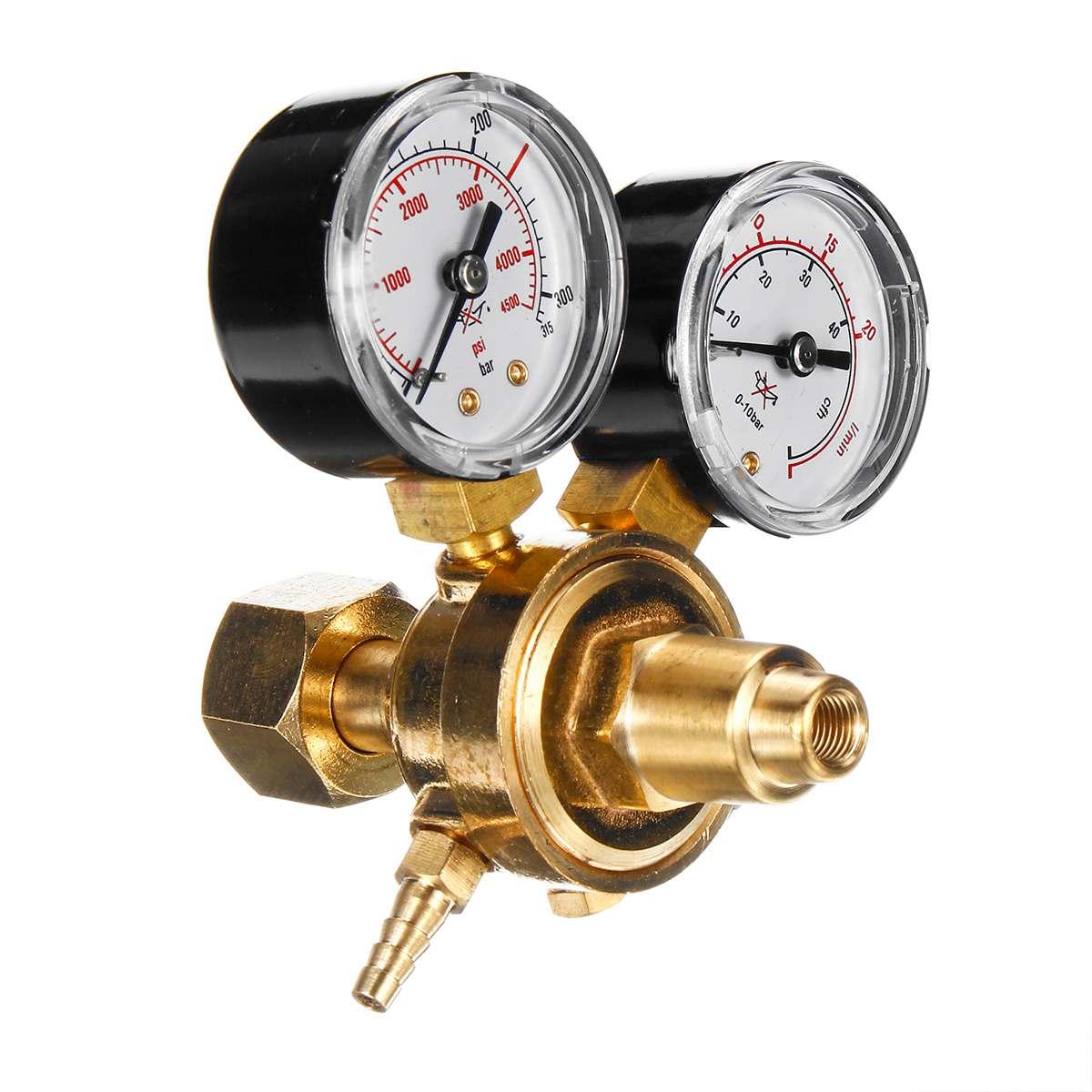 Dual Gauge Argon CO2 Gauges Pressure Reducer Mig Flow Meter Gas Control Valve Welding Regulator Argon Regulator Pressure Reducer