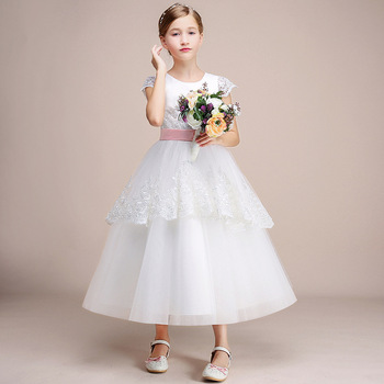 White Lace Flower Girl Dresses For Wedding Birthday Junior Kids Girl Formal Party Dress Long Cap Sleeve Communion Princess Gown newborn girl infant baby birthday wedding party dress ball gown princess lace up long sleeve front bow kids girl clothes