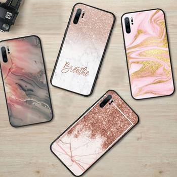 marble Gold Rose Glitter Phone Case For Huawei honor Mate P 9 10 20 30 40 Pro 10i 7 8 a x Lite nova 5t image
