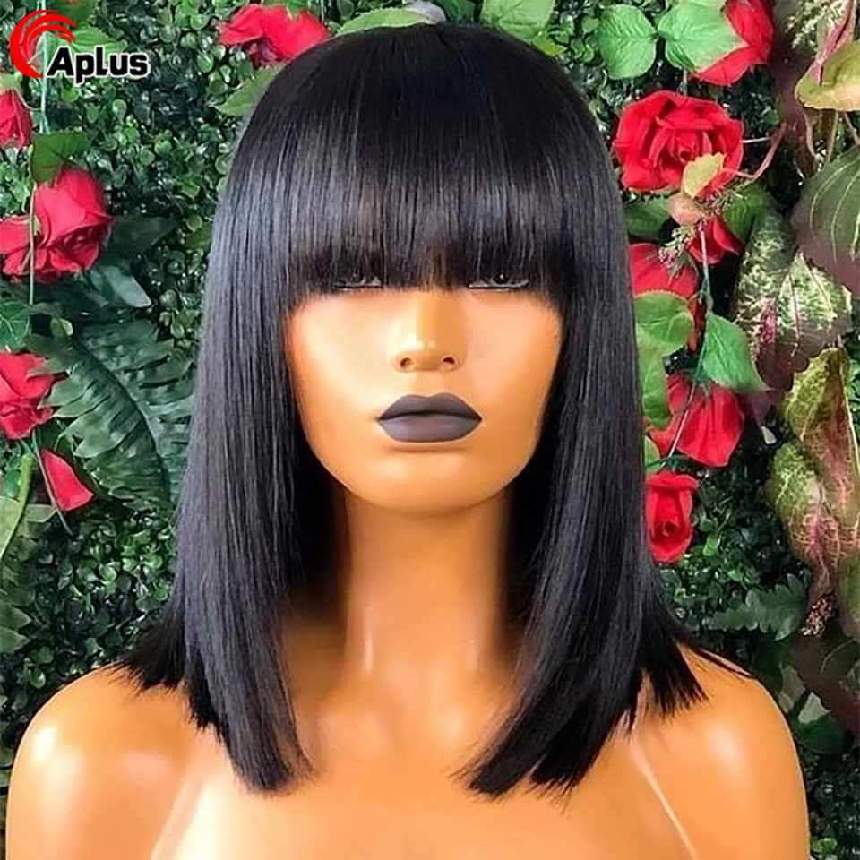 Short Bob Human Hair Wig With Chinese Bangs 13x6 Transparent Lace Front Wigs Peruvian 13x4 Straight HD Lace Wig For Black Women