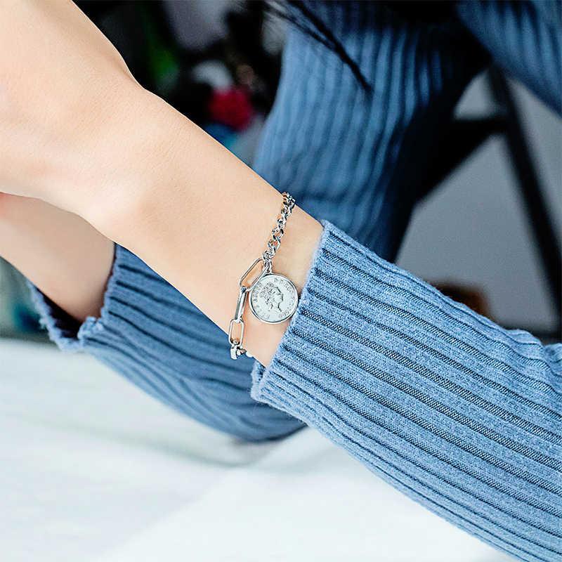 Nextvance Retro personalizado ronda Tag encanto pulsera reina Avatar Elizabeth moneda pulsera mujer joyería