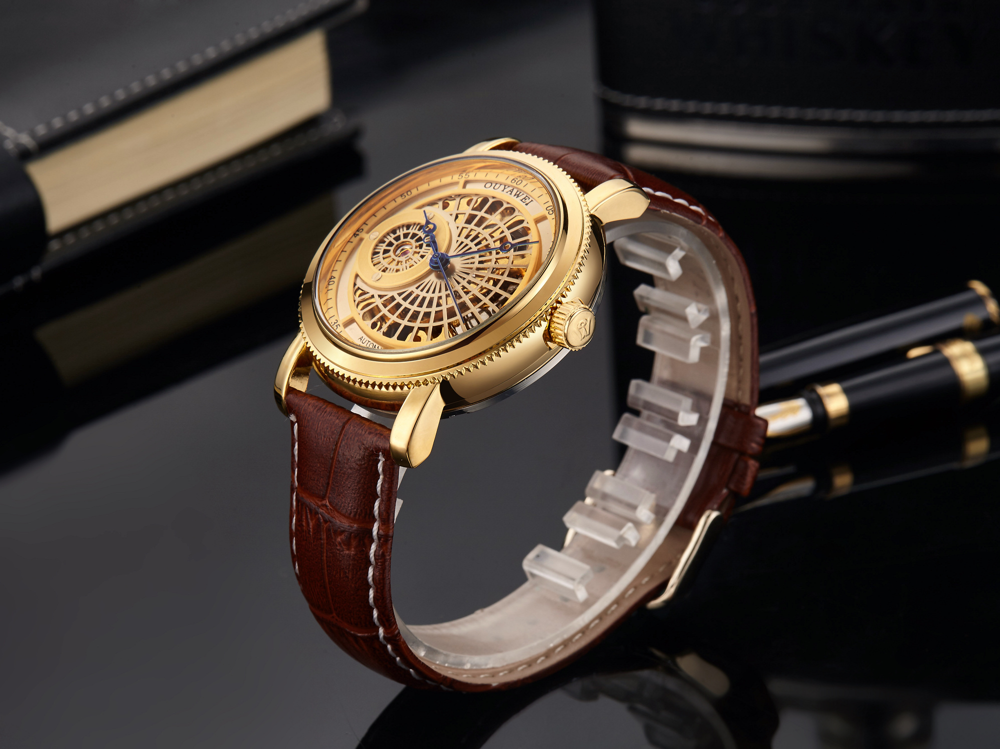 H647c3f57f8234b80aead3dd8ef6911fa1 Mechanical Gold Watch Luxury Brand Self-winding