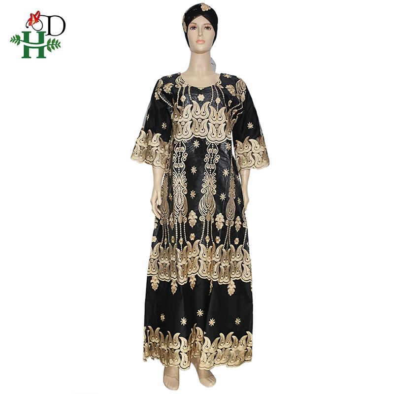 H&D South African Ladies Riche Bazin Lace Dresses Embroidery Dashiki Long Dress With Headtie 2020 African Nigerian Party Clothes