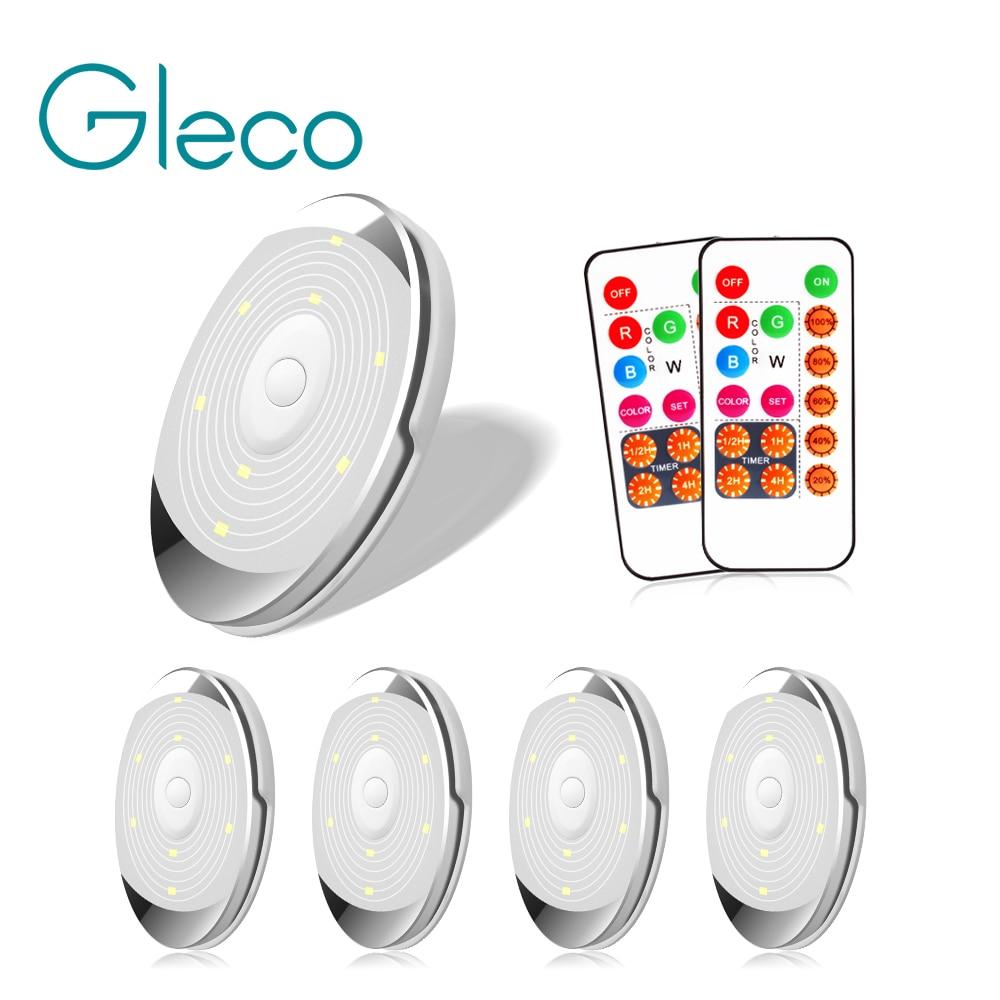 Diodo emissor de luz sob a luz do armário para o guarda-roupa da bateria/armário puck luz da cozinha com controlador regulável rgb + lâmpada da noite branca natural