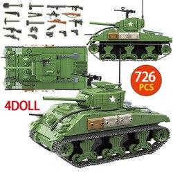 726 sztuk US wojskowy Sherman M4A1 Tank Building Blocks Technic policja miejska WW2 zbiornik żołnierz broń armii cegły dzieci zabawki w Klocki od Zabawki i hobby na