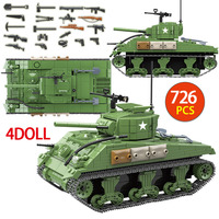 726PCS US Military Sherman M4A1 Tank Building Blocks Legoing Technic City Police WW2 Tank Soldier Weapon Army Bricks Kids Toys
