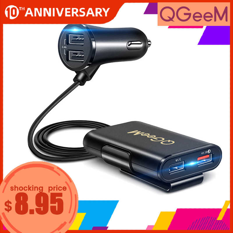 Qgeem 4 usb qc 3.0 車の充電器急速充電 3.0 電話車の高速前面背面充電アダプタ車のポータブル充電器 iphone