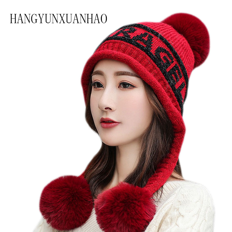HANGYUNXUANHAO Womens Winter Knit Slouchy Beanie Hat Faux Fur Pom Warm Knitted Skull Cap
