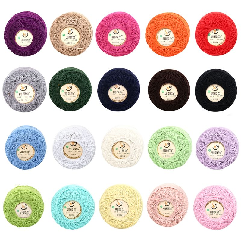 50g Thin DIY Cotton Lace Yarn Candy Color Crochet Hand-Woven Silk Light Thread