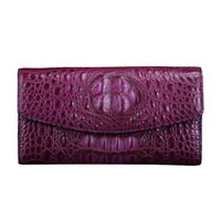 Exotic Crocodile Skin Women's Long Card Holders Wallet Genuine Alligator Leather Female Coin Pocket Lady Large Plum Clutch Purse