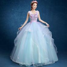 Бальное платье светло голубое с цветочным принтом платья для
