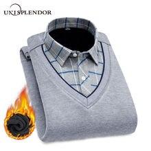 חדש אופנה גברים חולצות מזויף שני חתיכות חתיכות לעבות חורף מגניב גברים של חולצה בתוספת קטיפה מזדמן משובץ חם גבר חולצה YN10520