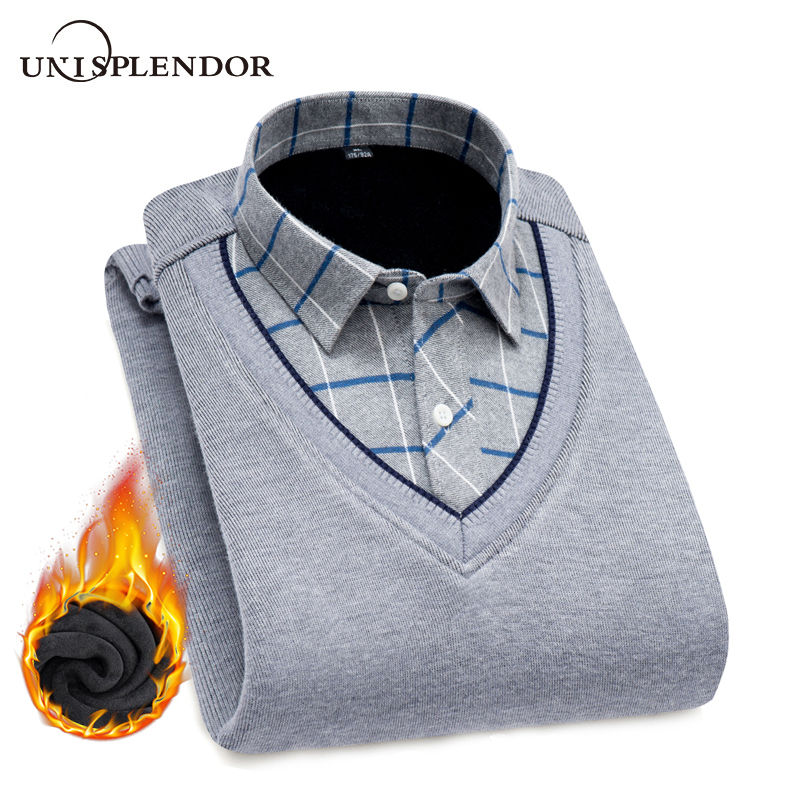 New Fashion Men Shirts Fake two pieces pieces Thicken Winter Cool Men's Shirt Plus velvet Casual Plaid Warm Man Shirt YN10520-in Casual Shirts from Men's Clothing