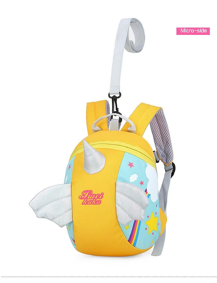 Nylon Fabric Panelled Preschool Backpack Baby Girls Mini Unicorn School Bags for Toddler Kids Cute Cartoon Casual Back Pack Blue (7)