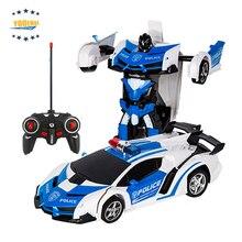 Transformador de coches Robots deformación Robot Control remoto coche con un botón funcionamiento automático sonidos realistas del motor